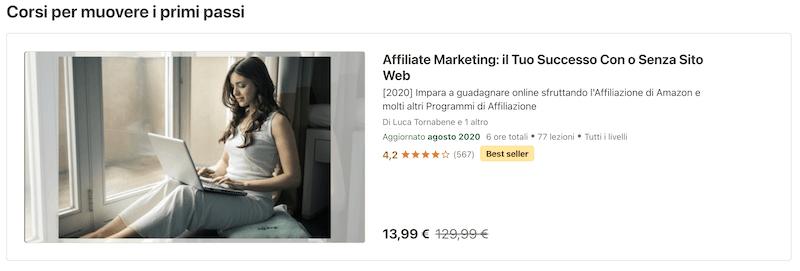 corsi affiliate marketing udemy