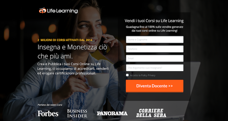 life learning vendere corsi online
