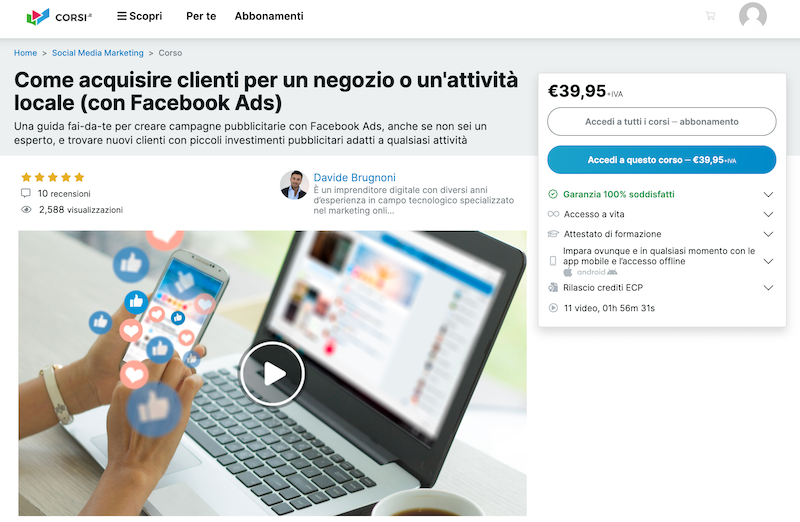 corso facebook ads local marketing