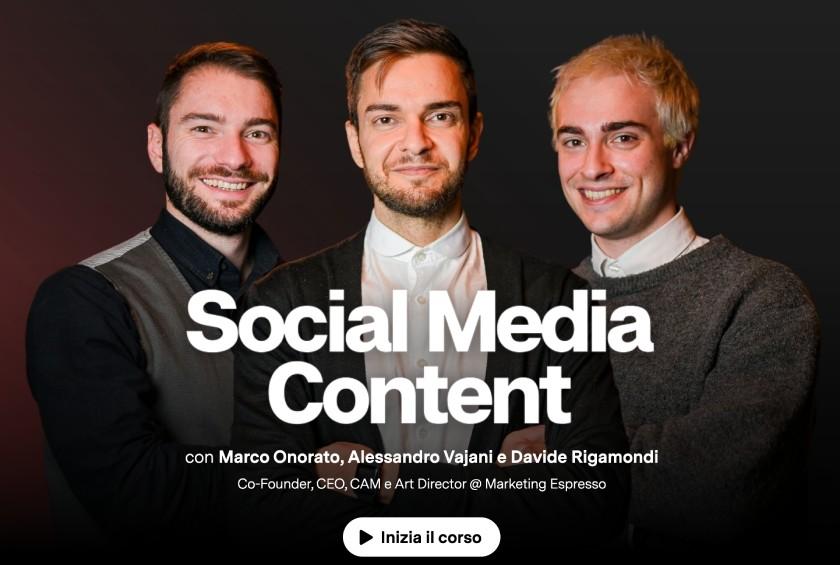 corso social media content learnn