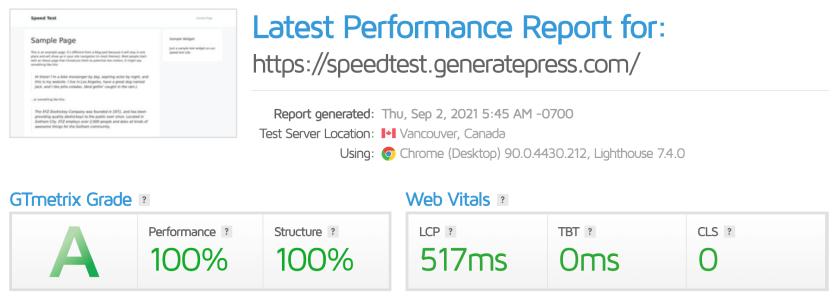 generatepress gtmetrix