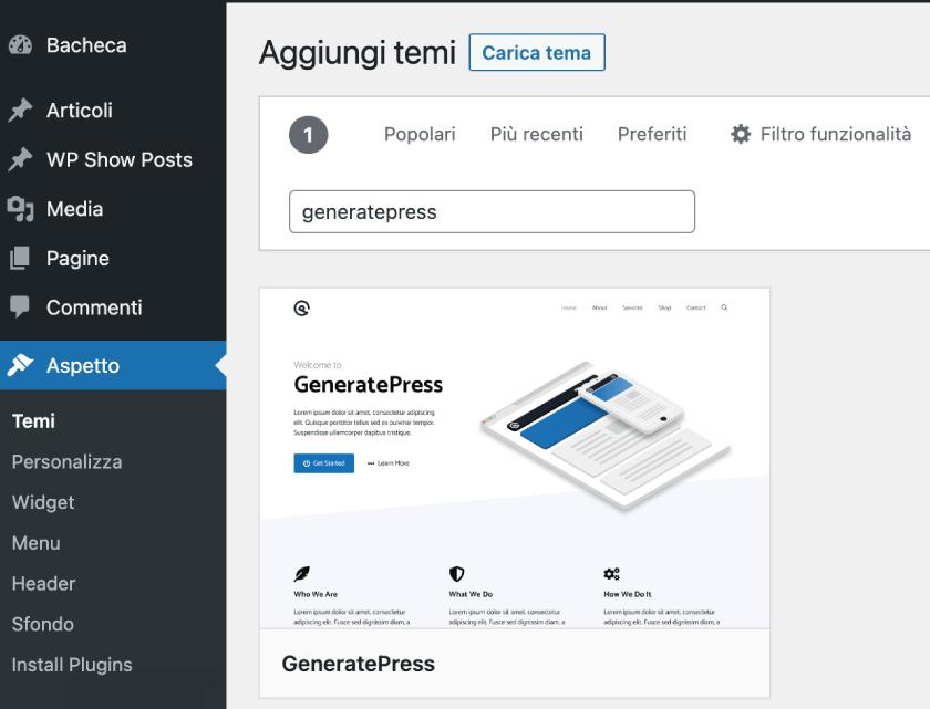 installare generatepress wordpress